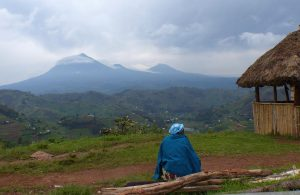 vulkanberge im grenzgebiet von uganda zu ruanda
