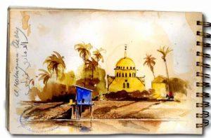 Pumpwerk an der Uferböschung (Ägypten)