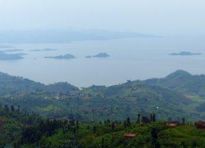 Reisebericht Fahrradtour Ruanda, Blick vom Bumba Base Camp auf den Kivu-See