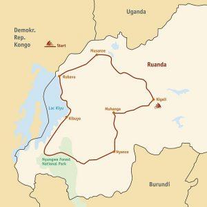 Strecke der Ruanda Fahrradtour